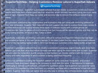 SuperiorTechHelp - Helping Customers Remove Lenovo's Superfi