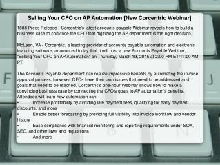 Selling Your CFO on AP Automation [New Corcentric Webinar]