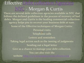 Effective Debt collection Agencies NYC - Morgan & Curtis