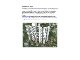 Flats in Baner by Gera Developments named Gera Affinia