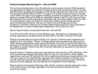 Political strategist Maurice Aguirre - LDA and FARA