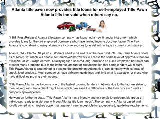 Atlanta title pawn now provides title loans