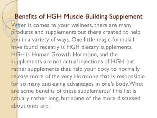 Benefits of HGH Muscle Building Supplement