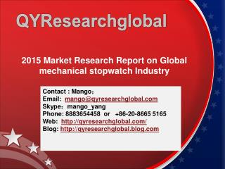 2015 Market Research Report on Global mechanical stopwatch I