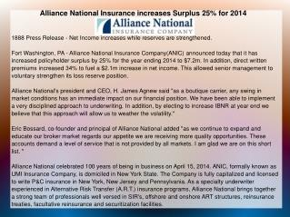 Alliance National Insurance increases Surplus 25% for 2014