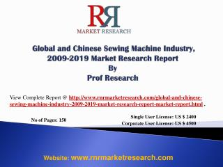 Sewing Machine Industry Global & China Regions Forecast 2019