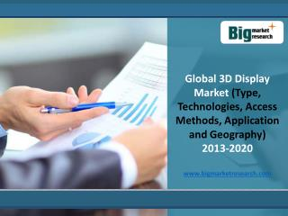 Global 3D Display Market Forecast,Trends to 2020