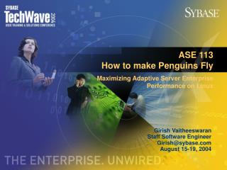 ASE 113  How to make Penguins Fly Maximizing Adaptive Server Enterprise Performance on Linux