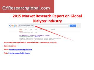 2015 Deep Research Report on Global Dialyzer Industry