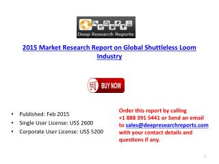 2015 Global Shuttleless Loom Industry Import Export Consumpt
