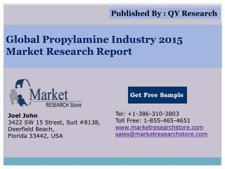 Global Propylamine Industry 2015 Market Analysis Survey Rese