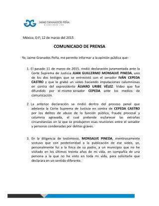 Comunicado de prensa - abogado Jaime Granados