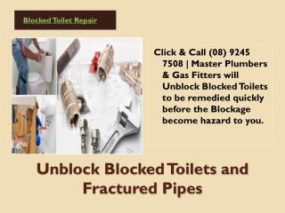 Unblock Blocked Toilets and Fractured Pipes Repairs