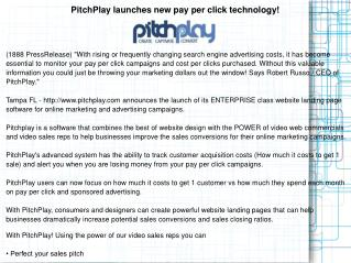 PitchPlay launches new pay per click technology!