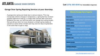 Garage Door Spring Repairing Services at your doorstep.