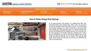 How to Repair Garage Door Springs