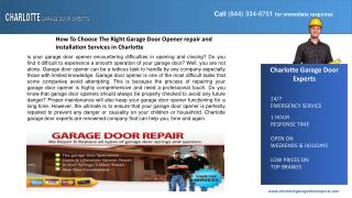 How To Choose The Right Garage Door Opener repair and instal