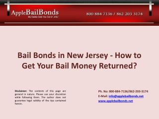 Bail Bonds in New Jersey - How to Get Your Bail Money Return