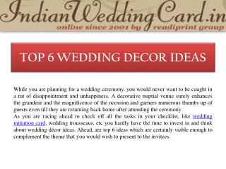 Top 6 Wedding Decor Ideas