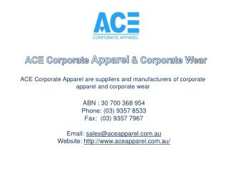 ACE Corporate Apparel - Sublimation Printing