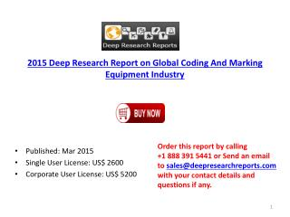 Global Coding and Marking Equipment Industry Project Schedul