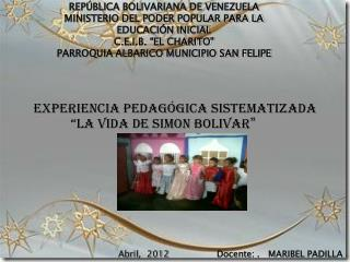 REP BLICA BOLIVARIANA DE VENEZUELA  MINISTERIO DEL PODER POPULAR PARA LA EDUCACI N INICIAL C.E.I.B.  EL CHARITO  PARROQU