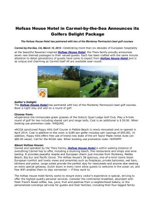 Hofsas House Hotel in Carmel-by-the-Sea Announces its Golfer