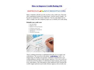 How to Improve Credit Rating UK