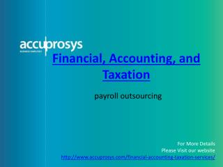 Financial, Accounting and Taxation Services - Accuprosys