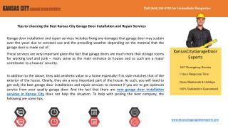Tips to choose the Best Kansas City Garage Door Installation