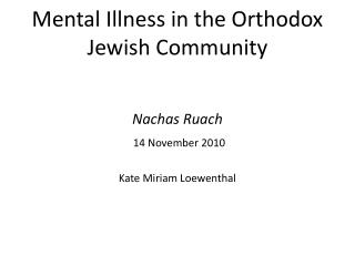 Mental Illness in the Orthodox Jewish Community