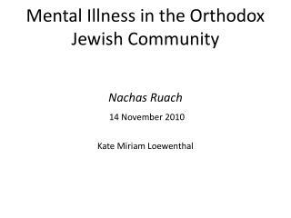 Mental Illness in the Orthodox Jewish Community