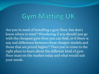 Gym Matting UK