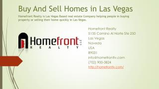 Buy And Sell Homes in Las Vegas