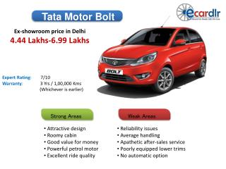 Tata Motors Bolt Prices, Mileage, Reviews and Images at Ecar