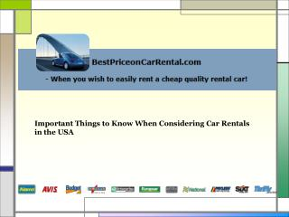 Important Things to Know When Considering Car Rentals in the