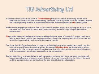 TJB Advertising - Directors Message