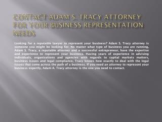 Contact Adam S. Tracy for your business representation needs