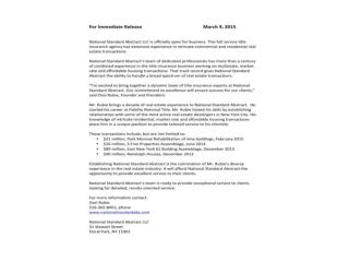 OSEIRUBIE and National Standard Abstract LLC Press Release