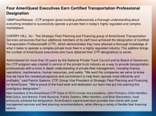Four AmeriQuest Executives Earn Certified Transportation