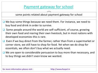 Payment gateway for school  is the best online portal
