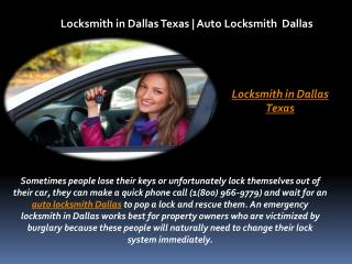 Locksmith in Dallas Texas | Auto Locksmith Dallas