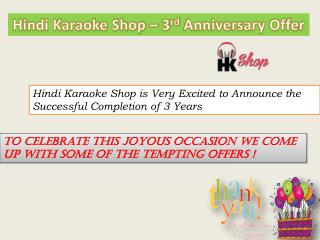 Hindi Karaoke Shop – 3rd Anniversary Karaoke Offers