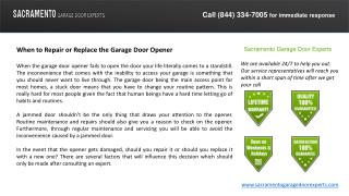 When to Repair or Replace the Garage Door Opener