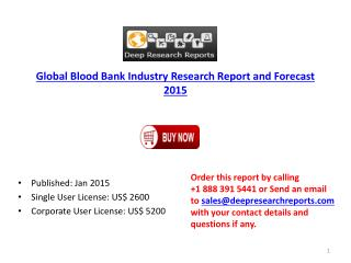 Global Blood Bank Industry Research Report and Forecast 2015