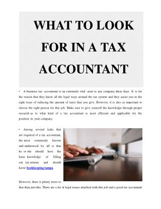 what to look in for a tax accountant