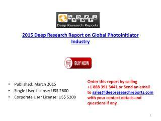 Global Photoinitiator Industry Forecast on Production & Prof