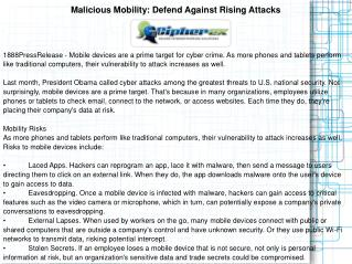 Malicious Mobility: Defend Against Rising Attacks