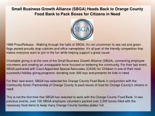 Small Business Growth Alliance (SBGA) Heads Back to Orange