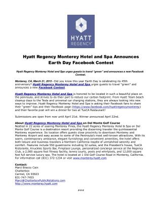 Hyatt Regency Monterey Hotel and Spa Announces Earth Day Fac